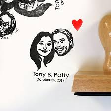 wedding invitations stamps custom couples portrait stamps self inking handle for rustic