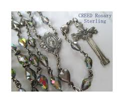 creed rosary creed rosary sterling heart accent borealis