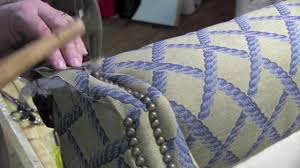 Upholstery Fabric For Armchairs Upholstery Installing Decorative Tacks In A Wingback Chair Youtube