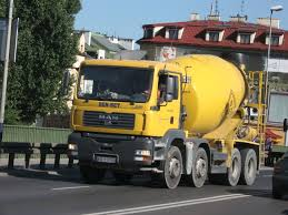 file man tga 35 350 cement mixer truck on dębnicki bridge in