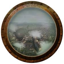 steampunk porthole airship over city wilsongraphics