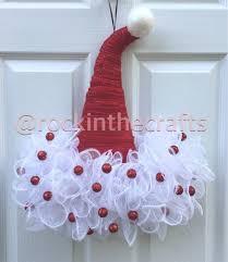 santa hat mesh wreath santa hat red glitter and wreaths
