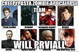 Zombie Team Meme - creepypasta zombie apocalypse team will prviall my zombie
