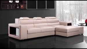 polaris mini contemporary light grey leather sectional sofa youtube