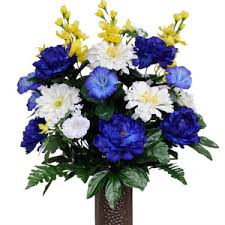 cemetery flowers morning glories daisies and peonies silk cemetery flowers