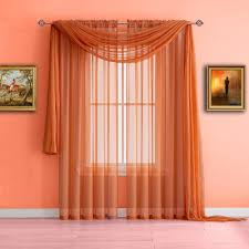 Sheer Curtains Orange Warm Home Designs Orange Window Scarf Valance Sheer Orange