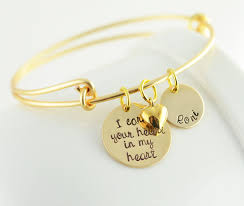mothers day bracelets personalized sted bangle bracelet i carry your heart in
