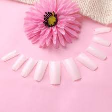 false nail nails art design tips white natural color for