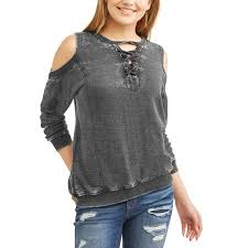 cold shoulder sweaters vanilla juniors burnout lace up cold shoulder sweatshirt