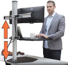 stand steady winston workstation dual monitor mount sit stand desk