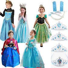 Anna Elsa Halloween Costumes Halloween Satin Dress Costumes Girls Ebay