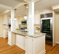 column in kitchen island kitchen contemporary with shaker cabinets