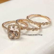 morganite bridal set oval morganite engagement ring trio bridal set diamond