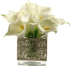 calla lilies in glass cube vase silver cube vase pinterest