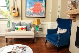 Blue Chairs For Living Room Blue Velvet Chairs Living Room Eclectic With Artistic Living Room