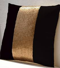 throw pillows black gold color block in silk and sequin bead