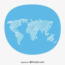 hand sketch world map vector free download