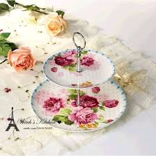 High Tea Party Decorating Ideas Bone China Foreign Trade Printing Ceramic Cake Stand Afternoon Tea