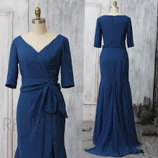 2016 midnight blue bridesmaid dress with a train v neck prom