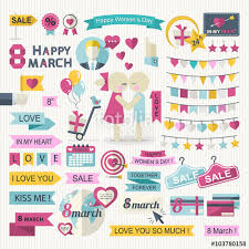 happy international s day set in flat style ribbon garland