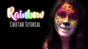 Cheetah Face Makeup For Halloween Rainbow Cheetah Face Paint Tutorial Youtube