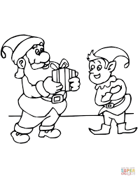 cartoon elf carrying santa bag coloring page free printable