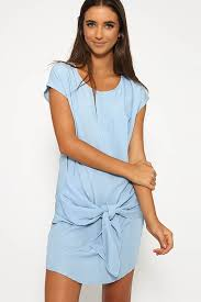 light blue short sleeve knotted denim casual dress casual