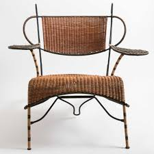 Wicker Chair Artisan Made Low Profile Two Tone Wicker Chair On Iron Frame