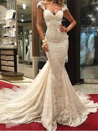 backless wedding dress cap sleeve appliques lace mermaid backless wedding dress tbdress