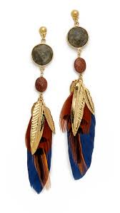 gas earrings lyst gas bijoux serti plume earrings blue multi in blue