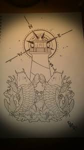 japanese koi fish and lighthouse tattoo design things to wear