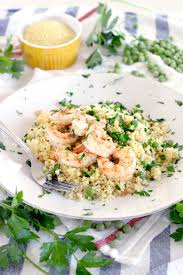 shrimp and couscous with peas and mint bowl of delicious