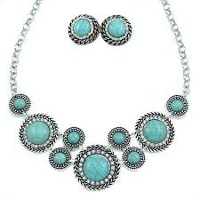 turquoise blue stone necklace images Blue color stone jewelry sets silver chain collar necklace and jpg