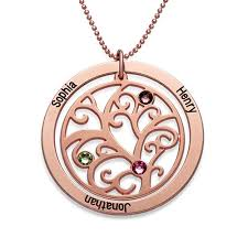 sted name necklace family tree birthstone necklace with gold plating