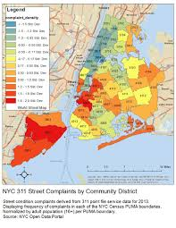 Std Map Map Heat Map Of New York City U0027s 311 Street Complaints By