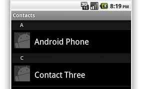 get contacts from android get contacts from android phone with image and sort by name