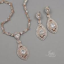 necklace set crystal images Rose gold plated crystal cz necklace pendant earrings wedding jpg