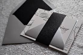Bling Wedding Invitations Real Wedding Robin And J Paul Black And White Black Tie