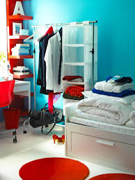 bedroom excellent ikea college dorm with red chair and open