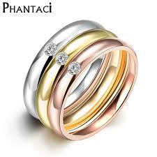 stainless steel engagement ring 3 pcs set zircon 316l stainless steel wedding rings for women