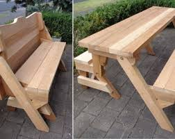 Plans For Picnic Table That Converts To Benches by Picnic Table Etsy