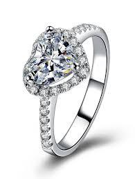 heart shaped wedding rings rings silver 6 rhinestone heart shaped wedding ring gamiss