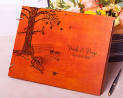 fall wedding guest book guestbook wedding rustic guest book monogrammed wood guest