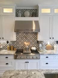 kitchen stove backsplash black and white cement tile farmhouse kitchen with black and