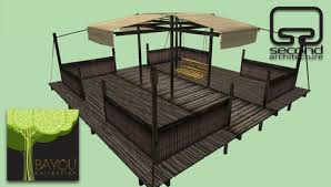 second life marketplace bayou collection dry swing pergola