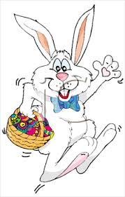 hopping bunny the easter bunny hopping with a basket of easter eggs clipart