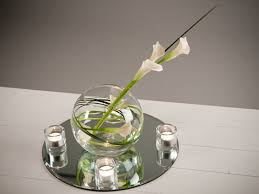 Calla Lily Vase Life Wrapped Calla Lilies In Lsa Orb Vase With A Mirror And Votives