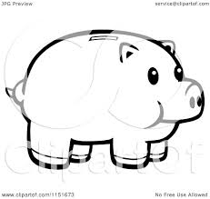 cartoon clipart of a black and white piggy bank vector outlined
