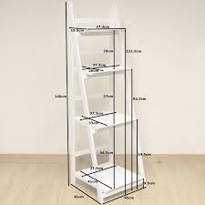 4 tier white ladder shelf display unit free standing folding book