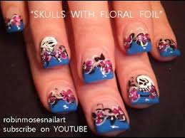 skull nail art skulls with foil flower nails design tutorial